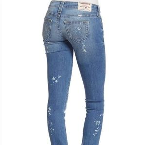 True Religion distressed splattered skinny jeans